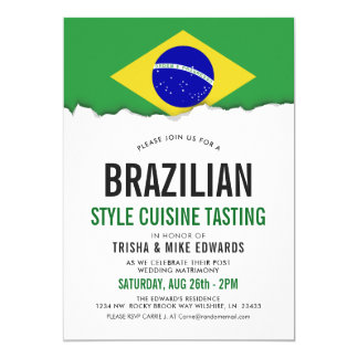 Brazilian Cuisine | Party Flag White Invite