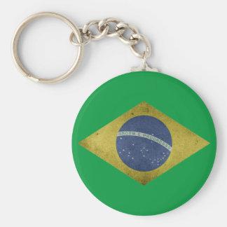Brazilian diamond basic round button key ring