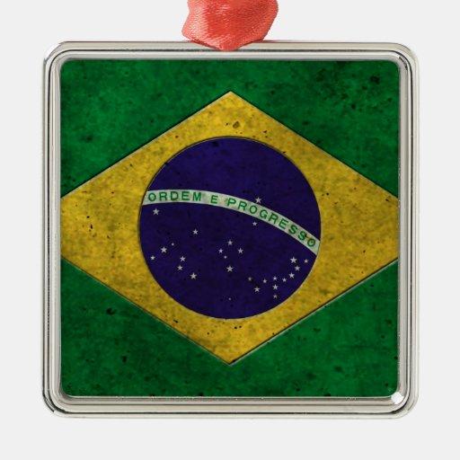 Brazilian Flag Aged Steel Effect Christmas Ornaments