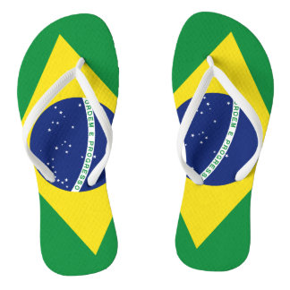 Brazilian flag beach flip flops for men and women