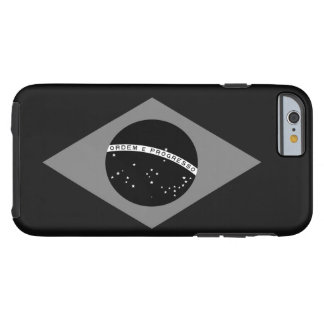 Brazilian Flag Black And White Tough iPhone 6 Case