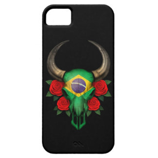 Brazilian Flag Bull Skull with Red Roses iPhone 5 Covers