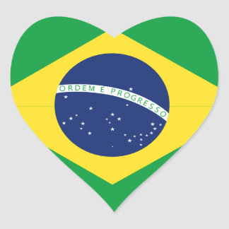 Brazilian flag heart sticker