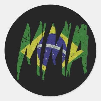 Brazilian Flag MMA Classic Round Sticker
