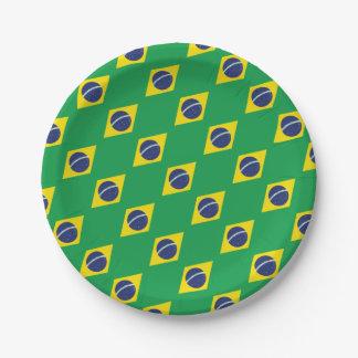 Brazilian Flag. Paper Plate