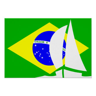 Brazilian Flag Sailing Yacht Nautical Poster