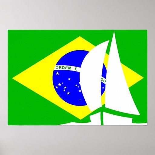 Brazilian Flag Sailing Yacht Nautical Posters