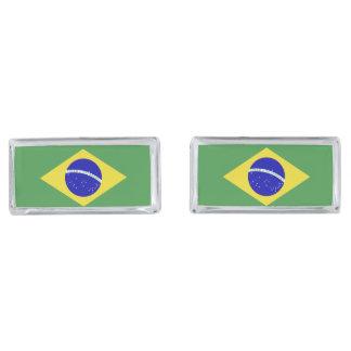 Brazilian Flag Silver Finish Cufflinks