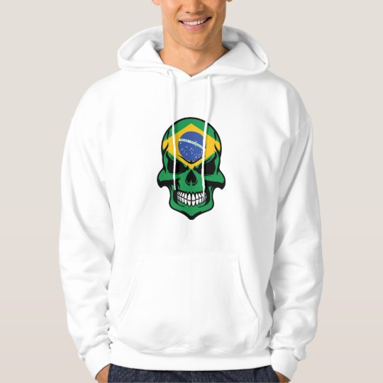 Brazilian Flag Skull Hoodie
