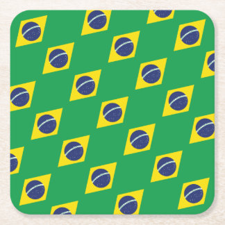Brazilian Flag. Square Paper Coaster