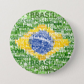 Brazilian Flag - Textual Brasil 7.5 Cm Round Badge