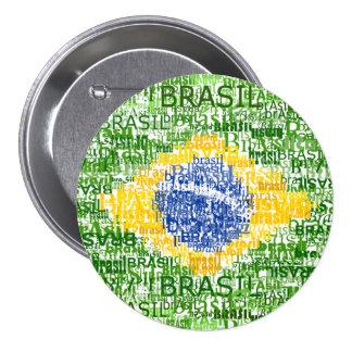 Brazilian Flag - Textual Brasil 7.5 Cm Round Badge