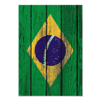 Brazilian Flag with Rough Wood Grain Effect Card
