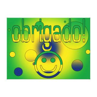 Brazilian Gifts Thank You Obrigado + Smiley Face Gallery Wrap Canvas