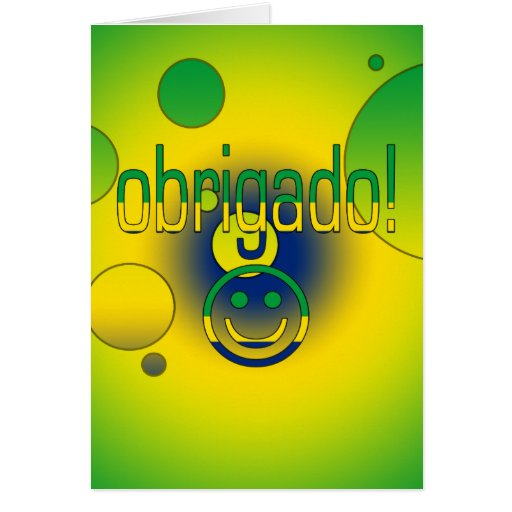 Brazilian Gifts Thank You / Obrigado + Smiley Face Greeting Cards
