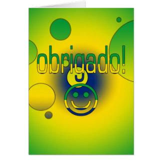 Brazilian Gifts Thank You / Obrigado + Smiley Face Greeting Card