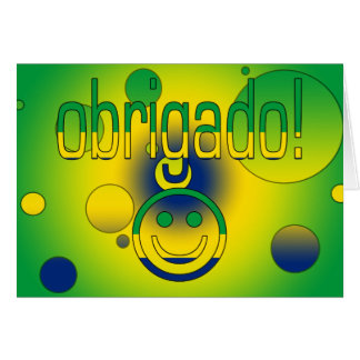 Brazilian Gifts Thank You / Obrigado + Smiley Face Note Card