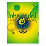Brazilian Gifts Thank You / Obrigado + Smiley Face Post Cards