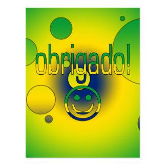 Brazilian Gifts Thank You / Obrigado + Smiley Face Postcard