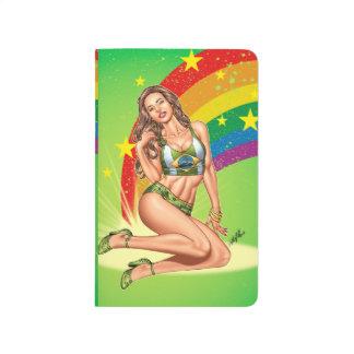 Brazilian Girl wearing the Brazil Flag w/ Rainbow Journal