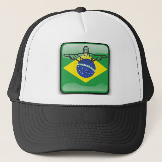 Brazilian glossy flag trucker hat