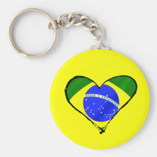 Brazilian heart Brazil flag love heart Basic Round Button Key Ring
