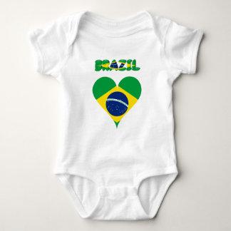 Brazilian heart flag baby bodysuit