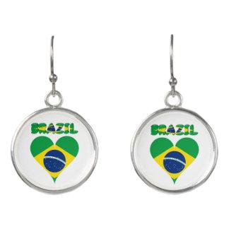 Brazilian heart flag earrings