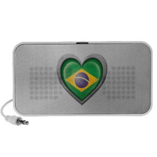 Brazilian Heart Flag Stainless Steel Effect Portable Speaker