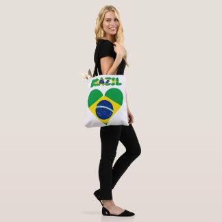 Brazilian heart flag tote bag