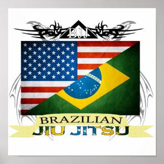 Brazilian Jiu JItsu Flag Fusion poster