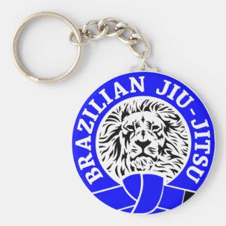 Brazilian Jiu-Jitsu (Key Chain) Blue Belt Basic Round Button Key Ring