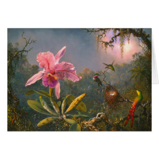 Brazilian Orchid and Hummingbirds 1871 Card