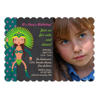 Brazilian Samba Birthday Party photo invitation