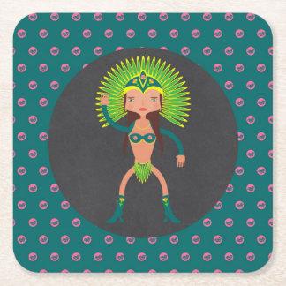 Brazilian Samba girl Birthday Party Square Paper Coaster