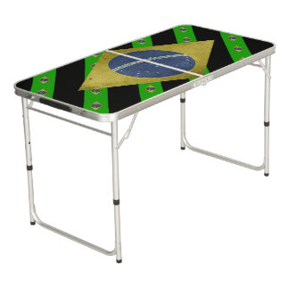Brazilian stripes flag beer pong table
