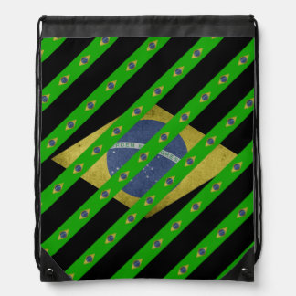 Brazilian stripes flag drawstring bag