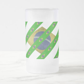 Brazilian stripes flag frosted glass beer mug