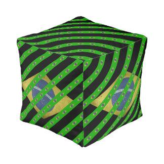Brazilian stripes flag pouf