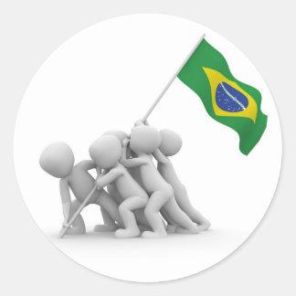 brazils flag classic round sticker