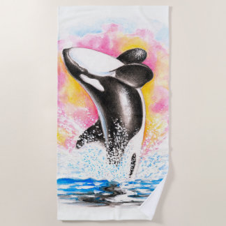 Breaching Orca Whale Rainbow Watercolor Beach Towel