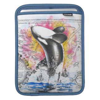 Breaching Orca Whale Vintage Map Rainbow iPad Sleeve