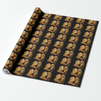 Bread Basket & Black Background Wrapping Paper