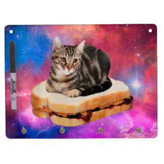 bread cat  - space cat - cats in space dry erase board with key ring holder