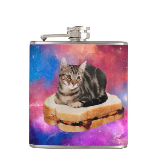 bread cat  - space cat - cats in space hip flask