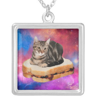 bread cat  - space cat - cats in space silver plated necklace