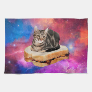 bread cat  - space cat - cats in space tea towel