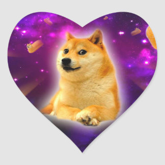 bread  - doge - shibe - space - wow doge heart sticker