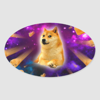 bread  - doge - shibe - space - wow doge oval sticker