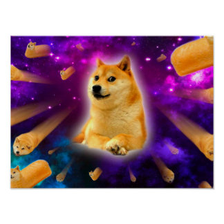 bread  - doge - shibe - space - wow doge poster